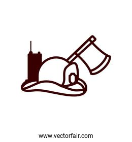firefighter hat axe and hand radio line style icon vector design