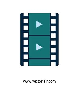 Isolated movie play strip flat style icon vector design
