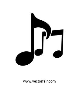 Isolated music notes silhouette style icon vector design