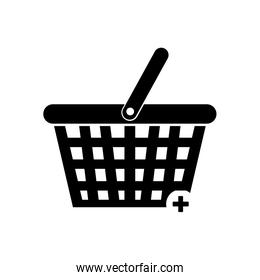 Isolated shopping basket silhouette style icon vector design