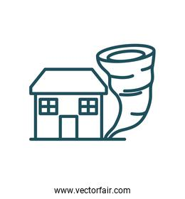 house and twister line style icon vector design