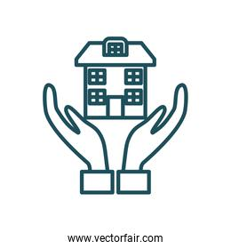 house over hands line style icon vector design