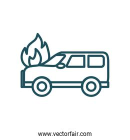 car on fire line style icon vector design