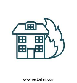 house and flame line style icon vector design