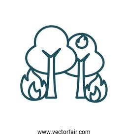 trees on fire line style icon vector design