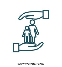 mother and son between hands line style icon vector design