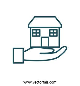 house over hand line style icon vector design