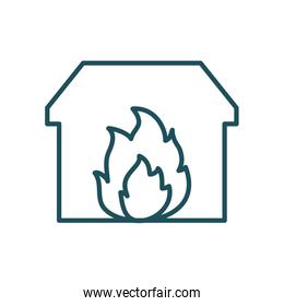house on fire line style icon vector design