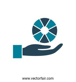hand with wheel silhouette style icon vector design