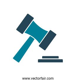 Isolated law hammer silhouette style icon vector design