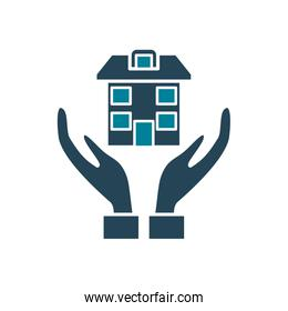 house over hands silhouette style icon vector design