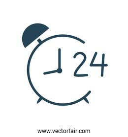 Isolated clock with 24 hours arrow silhouette style icon vector design