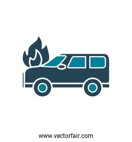 car on fire silhouette style icon vector design