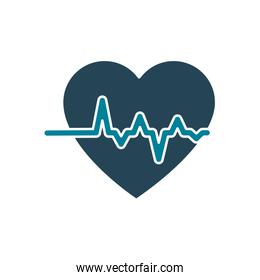 heart with pulse silhouette style icon vector design