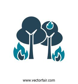 trees on fire silhouette style icon vector design