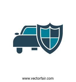 car and shield silhouette style icon vector design