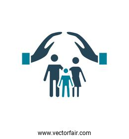 hands over family silhouette style icon vector design
