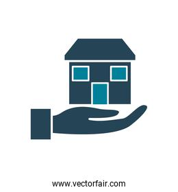 house over hand silhouette style icon vector design