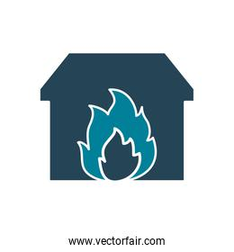 house on fire silhouette style icon vector design
