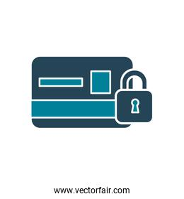 credit card with padlock of security system silhouette style icon vector design