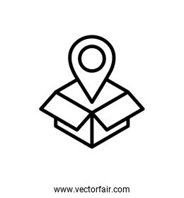 cardboard box pointer location delivery icon thick line