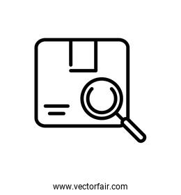 cardboard box magnifier delivery icon thick line
