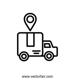 truck location pointer delivery icon thick line