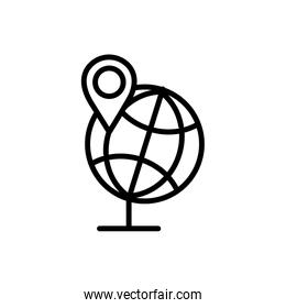 globe navigation pin map delivery icon thick line