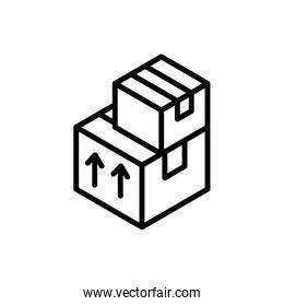 stacked cardboard boxes delivery icon thick line