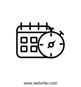 calendar stopwatch delivery icon thick line