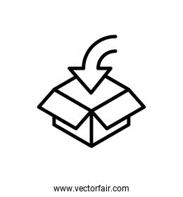cardboard box open delivery icon thick line