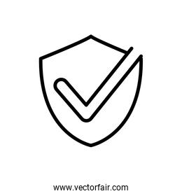 shield protection check mark delivery icon thick line