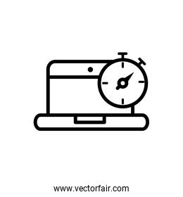 laptop stopwatch delivery icon thick line