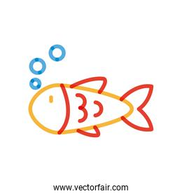 Isolated fish animal multiply line style icon vector design