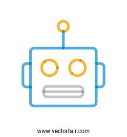 Isolated robot cartoon multiply line style icon vector design
