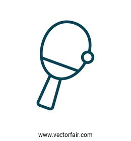 ball and racket of table tennis line style icon vector design