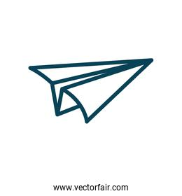 Isolated origami paperplane line style icon vector design