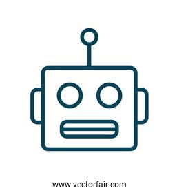Isolated robot cartoon line style icon vector design
