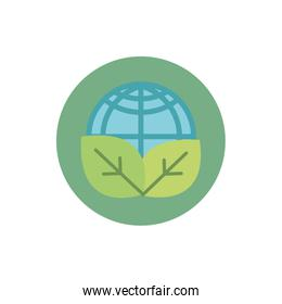 world leaves nature green energy block icon