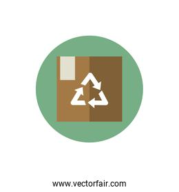 cardboard box package recycle green energy block icon