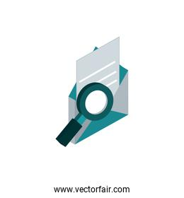 envelope paper search postal mail isometric