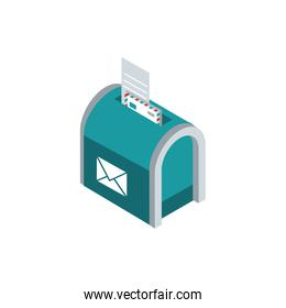 mailbox envelope papers correspondence postal mail isometric