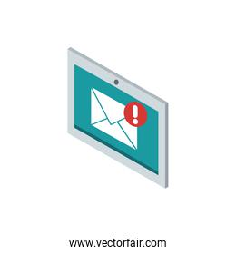 tablet computer email correspondence postal mail isometric