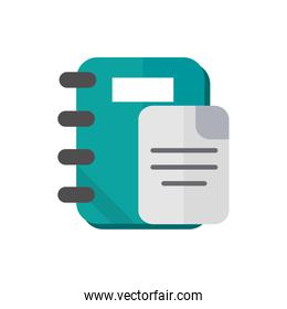 notebook and paper school and education icon