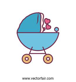 baby stroller line and fill style icon vector design