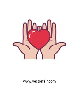 Isolated heart over hands line and fill style icon vector design