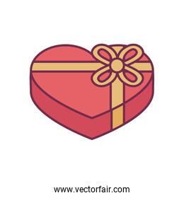 heart gift with bowtie line and fill style icon vector design