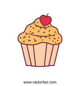 Isolated cupcake dessert line and fill style icon vector design