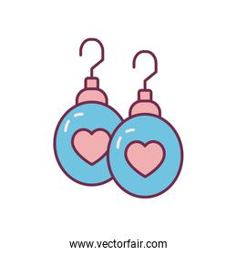 Isolated hearts earrings line and fill style icon vector design