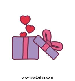 hearts inside gift with bowtie line and fill style icon vector design